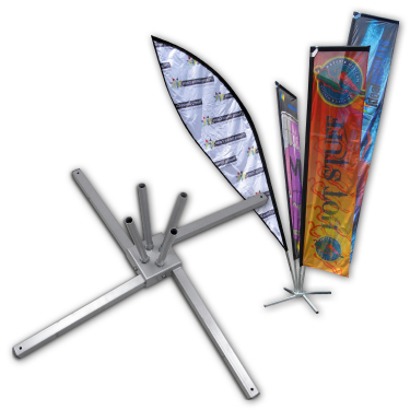 The Collapsible Cluster Flag Base is steel constructed and epoxy coated in silver colour, intended for outdoor as well as indoor use to accommodate four flags - collapsible and compact. Custom sizes are available on request although dependant on quantity.